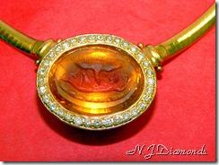 citrine diamond pendant