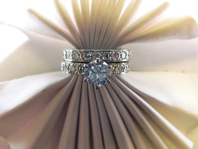 two piece diamond engagement ring with a round diamond center stone N.J. Diamonds
