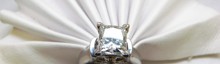 Princess Cut Solitaire Diamond engagement ring Michigan