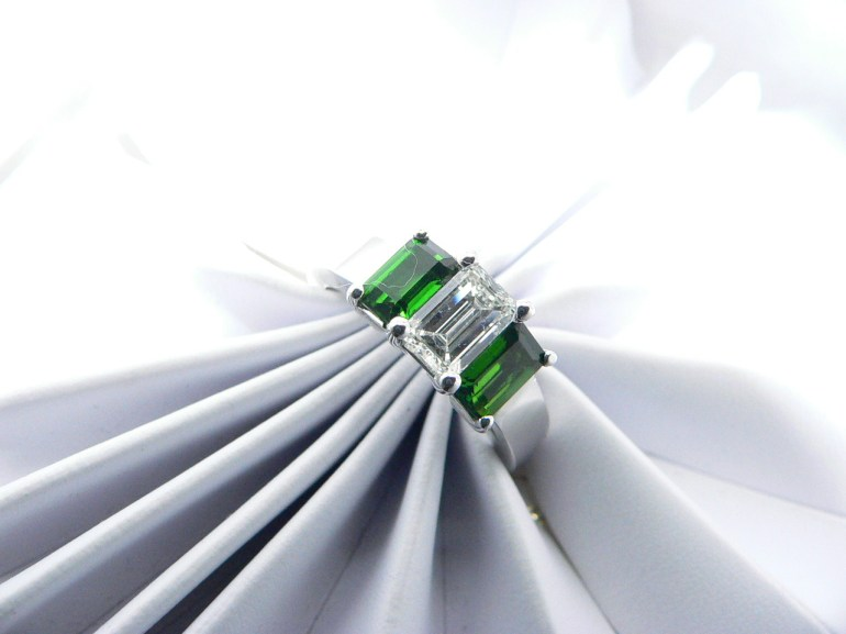 Emerald Cut Diamond with emeralds
