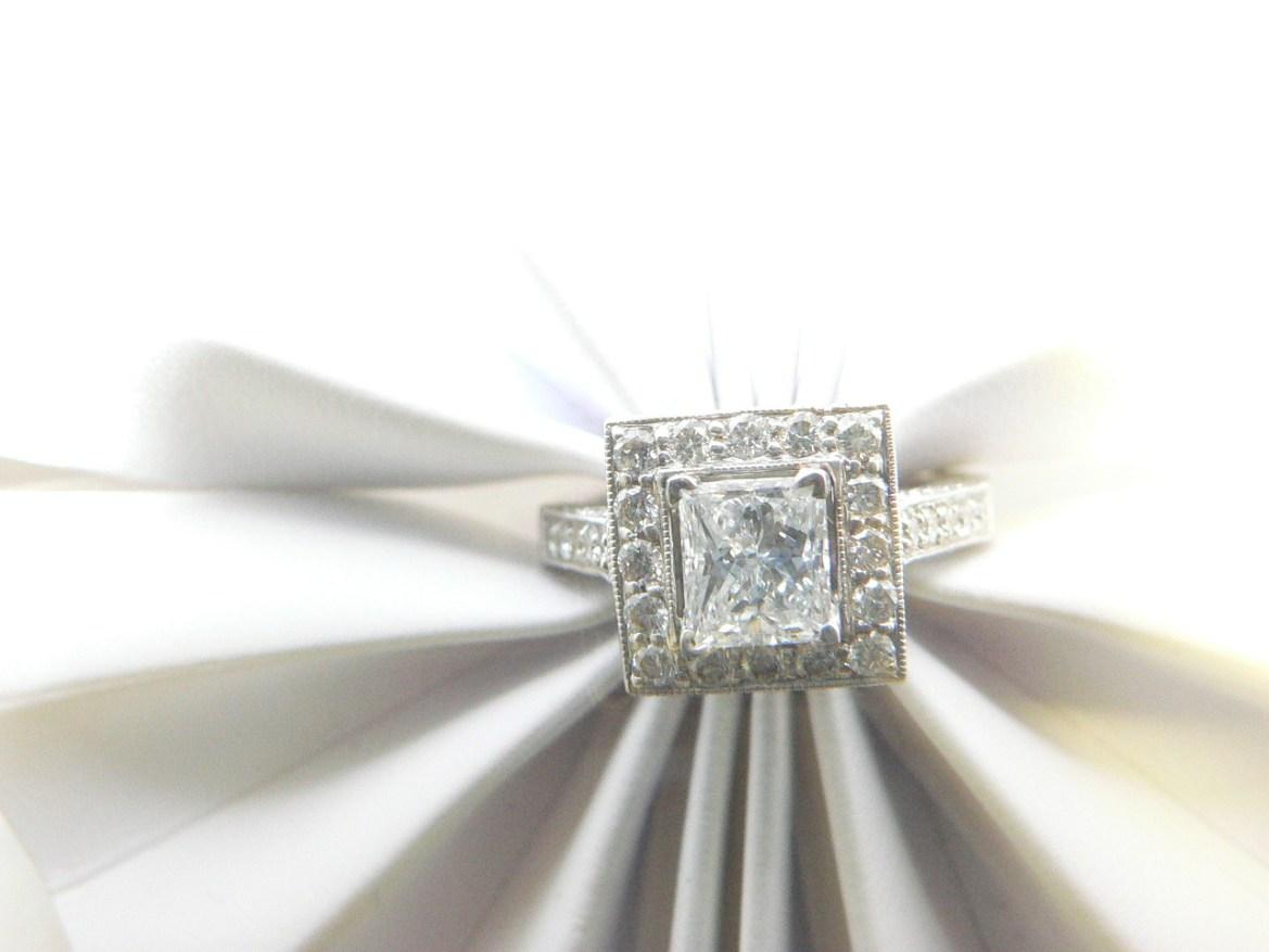 Princess cut diamond center stone