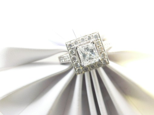 Princess cut diamond center stone