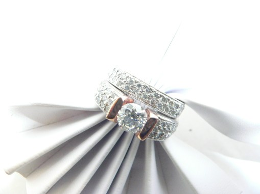Diamond wedding set two piece pink and white gold.