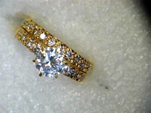 CZ 21kt gold wedding ring set