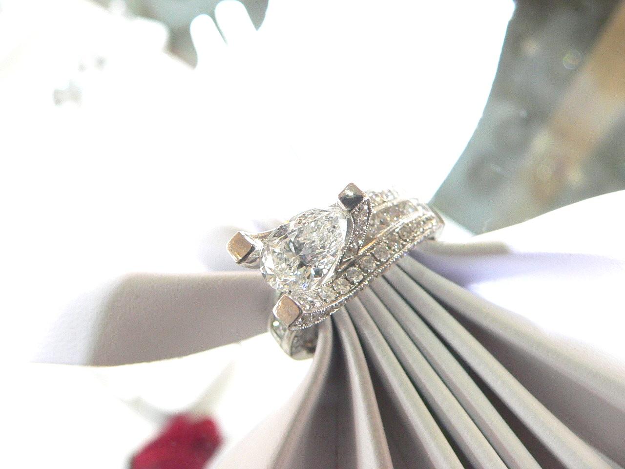 Pear Shape Diamond Engagement Ring Michigan Dearborn Detroit