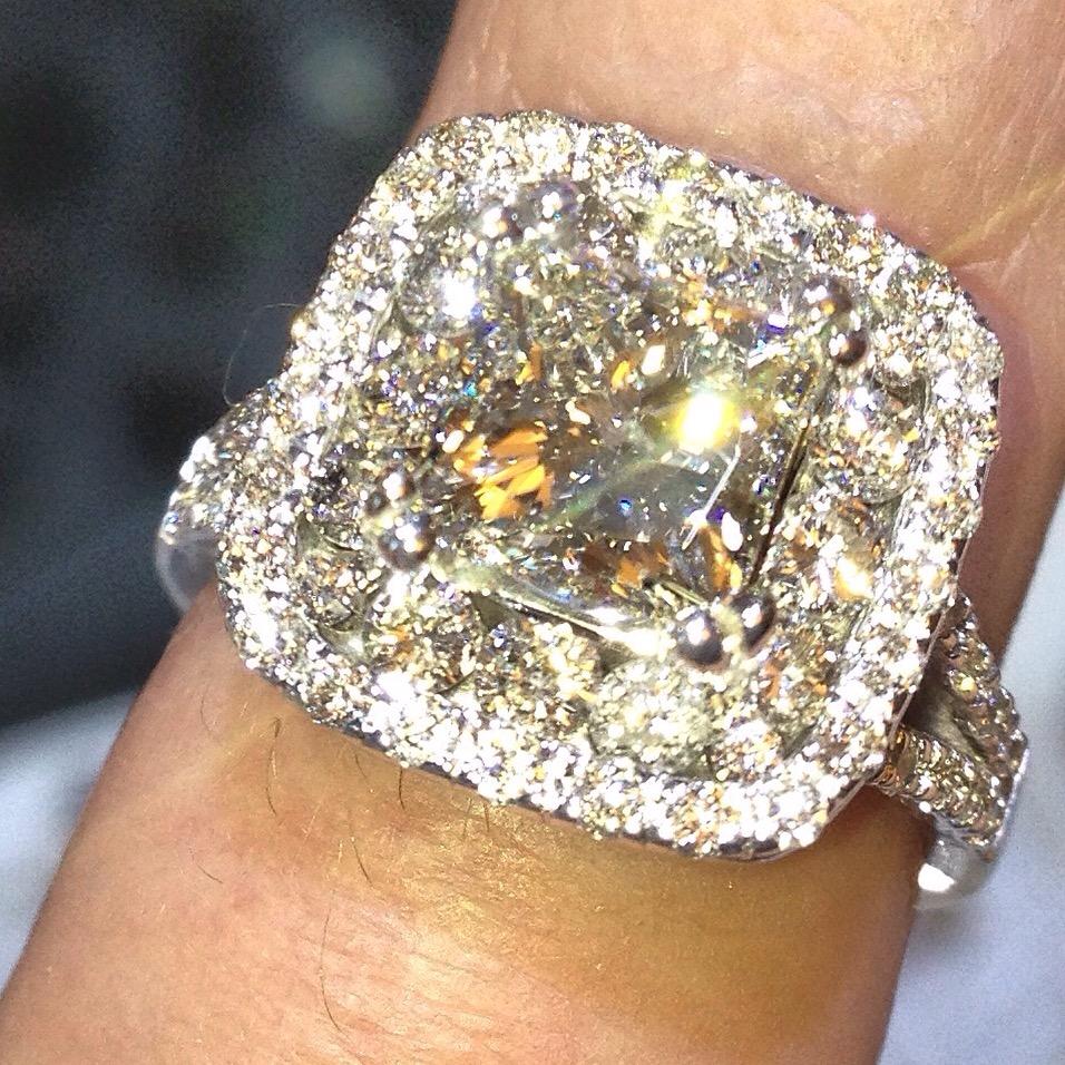 Halo style custom diamond engagement ring Michigan