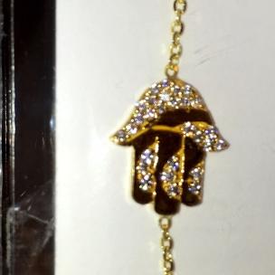 Hand charm bracelet 18 karat gold with cubic zirconia stones Dearborn