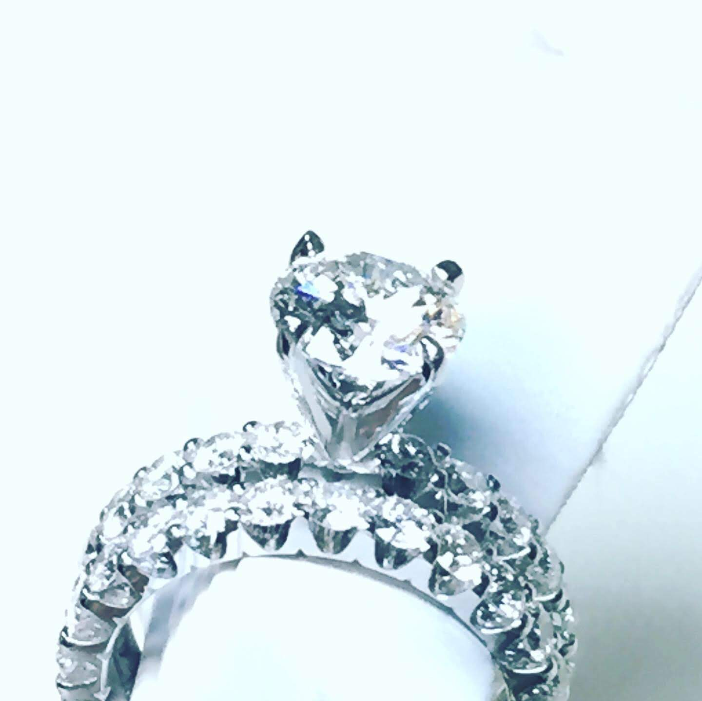 Custom by Z diamond engagement ring white gold round GIA certified diamond center stone.